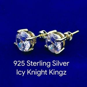 925 Yellow Gold Finish 7mm CZ Stud Earrings